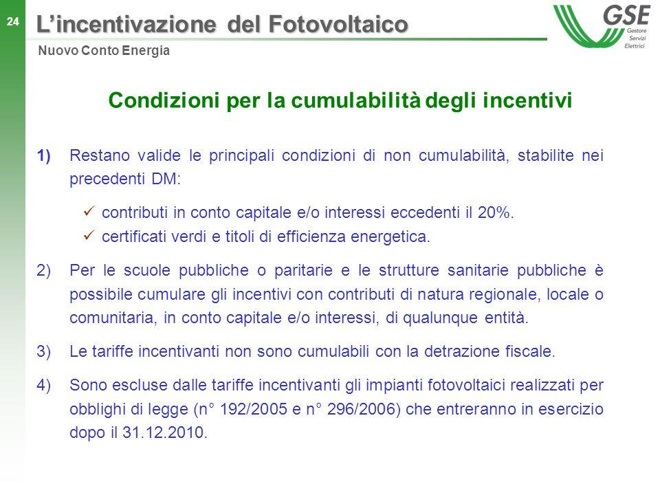 Condizioni per la cumulabilità degli incentivi