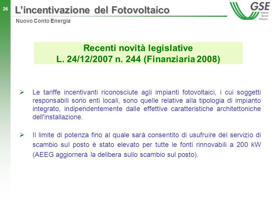 Recenti novità legislative L. 24/12/2007 n. 244 (Finanziaria 2008)