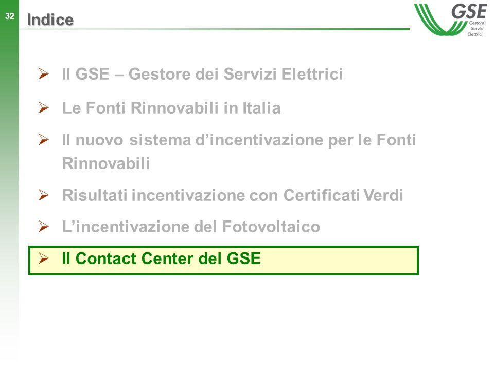 Indice Il GSE – Gestore dei Servizi Elettrici. Le Fonti Rinnovabili in Italia. Il nuovo sistema d'incentivazione per le Fonti Rinnovabili.