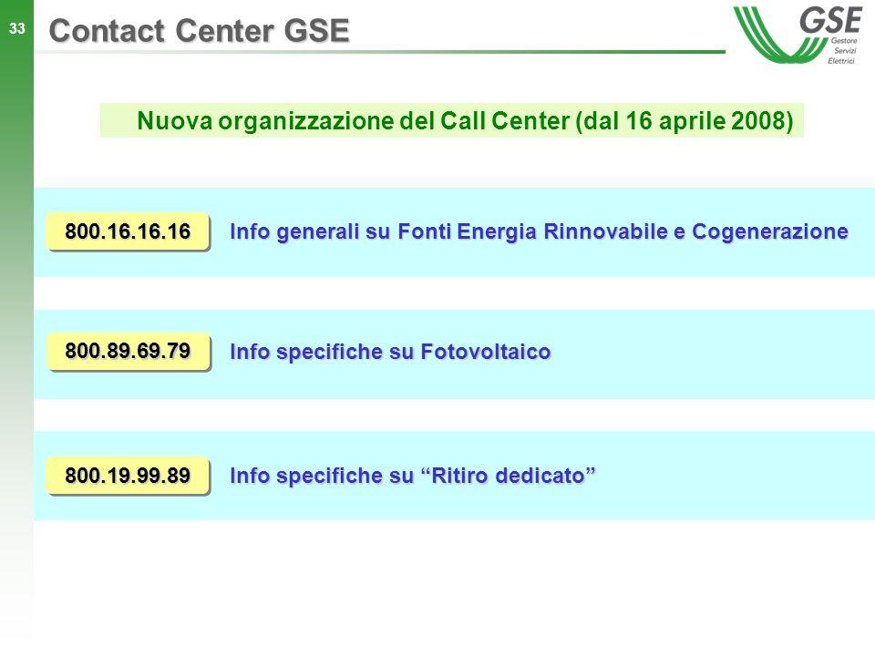 Nuova organizzazione del Call Center (dal 16 aprile 2008)