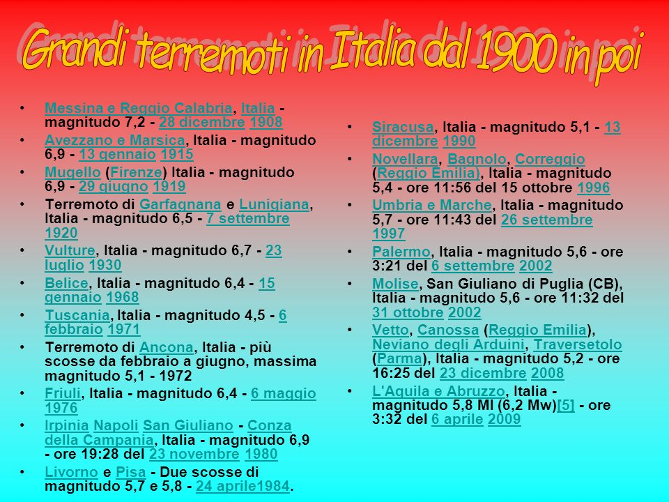 Grandi terremoti in Italia dal 1900 in poi