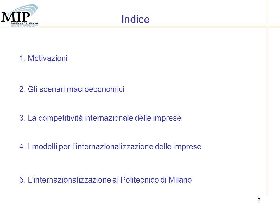 Indice 1. Motivazioni 2. Gli scenari macroeconomici