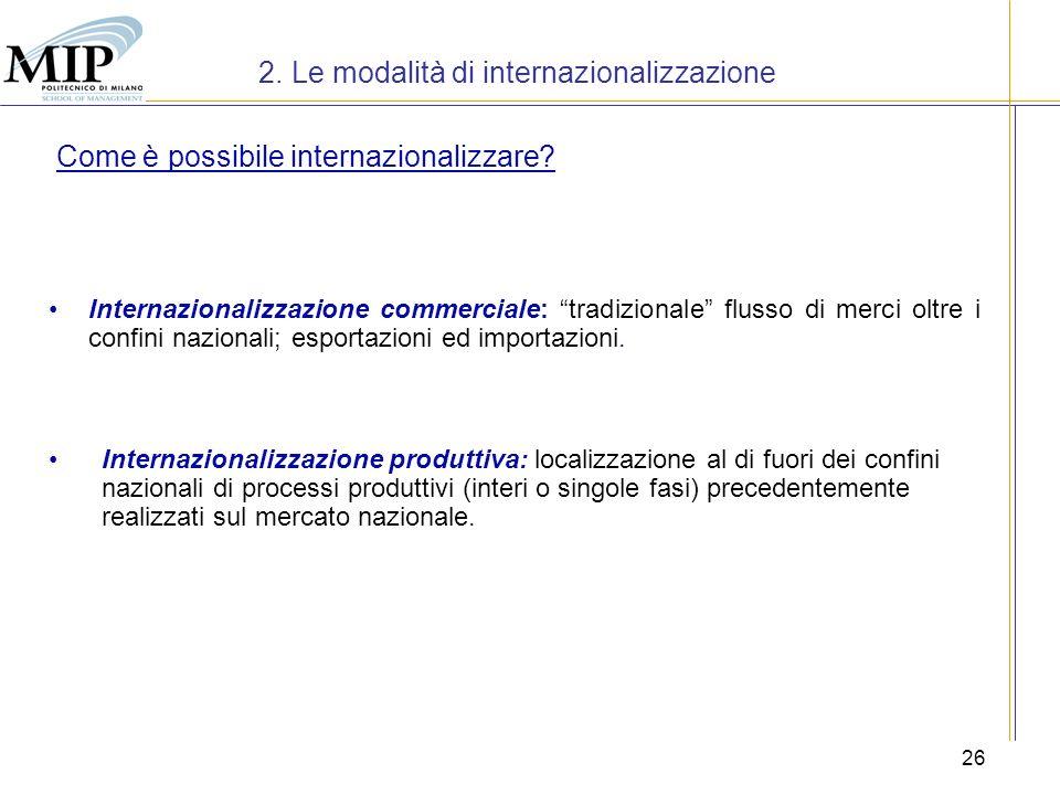 2. Le modalità di internazionalizzazione