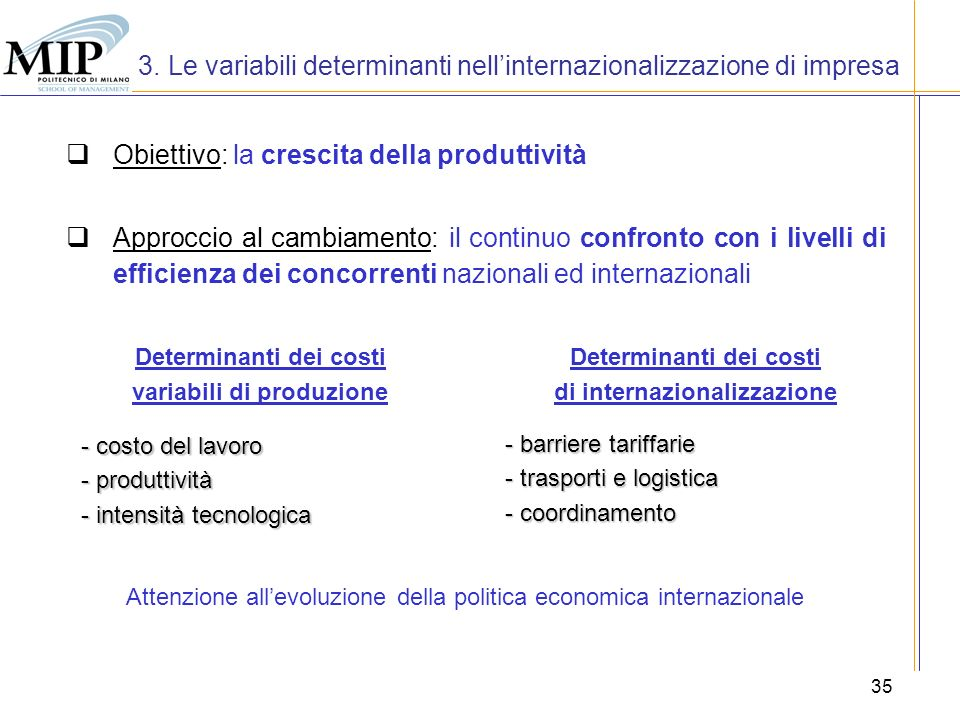3. Le variabili determinanti nell'internazionalizzazione di impresa