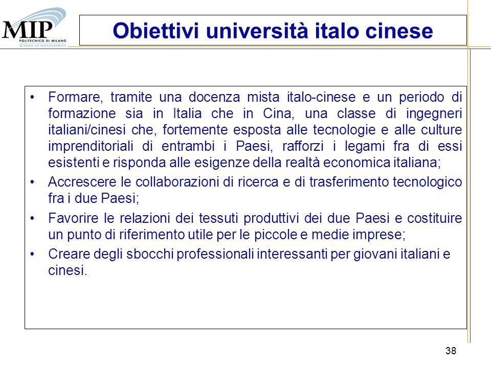Obiettivi università italo cinese