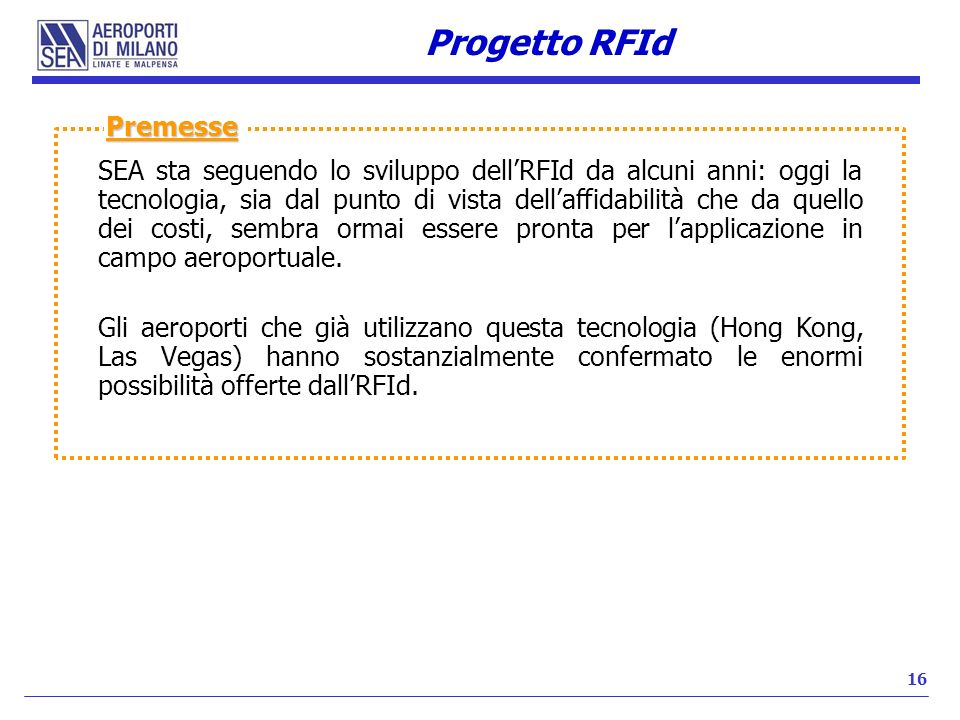 Progetto RFId Premesse