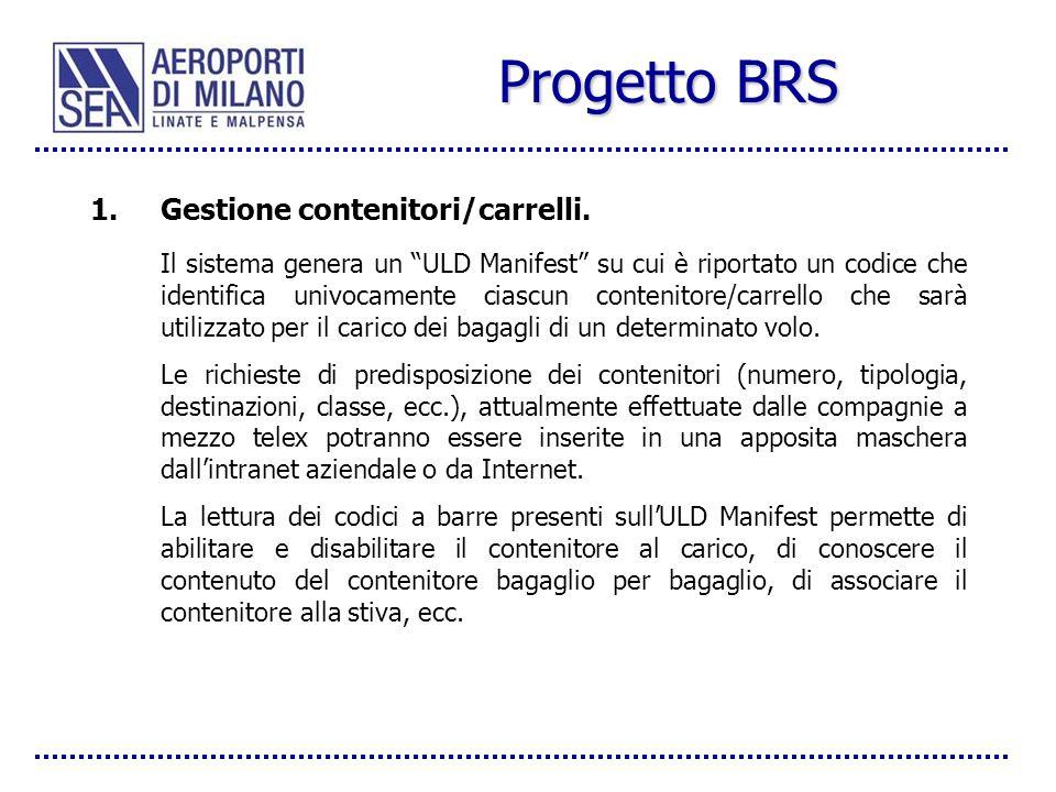 Progetto BRS Gestione contenitori/carrelli.