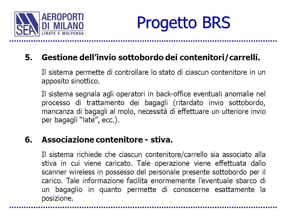 Progetto BRS Gestione dell'invio sottobordo dei contenitori/carrelli.