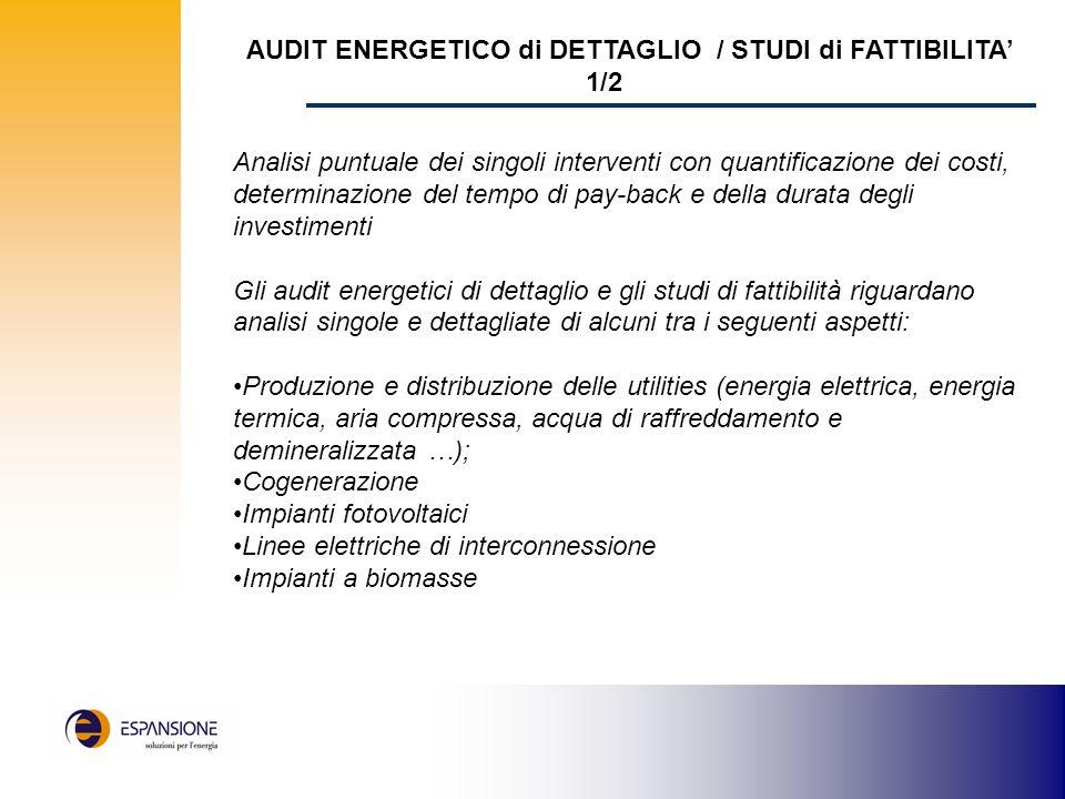 AUDIT ENERGETICO di DETTAGLIO / STUDI di FATTIBILITA' 1/2