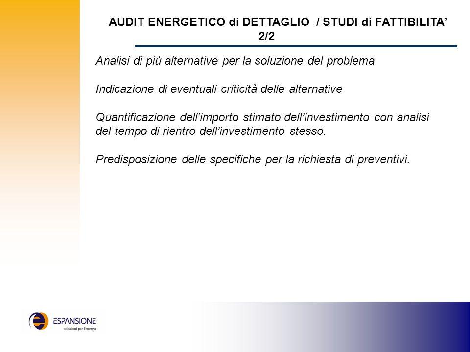 AUDIT ENERGETICO di DETTAGLIO / STUDI di FATTIBILITA' 2/2