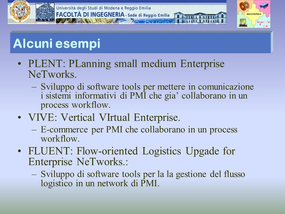 Alcuni esempi PLENT: PLanning small medium Enterprise NeTworks.