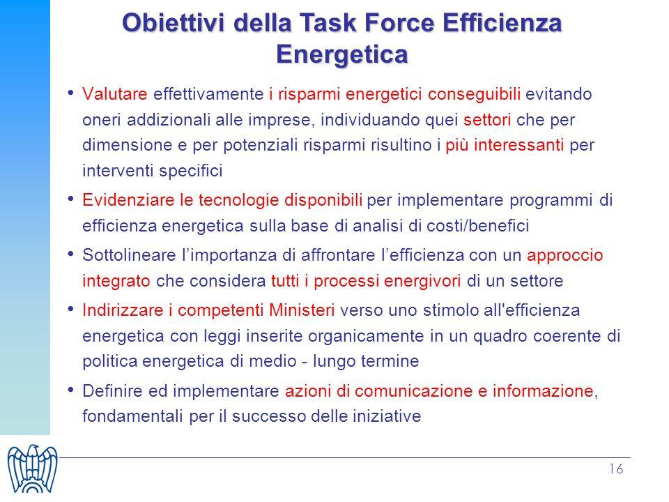 Obiettivi della Task Force Efficienza Energetica