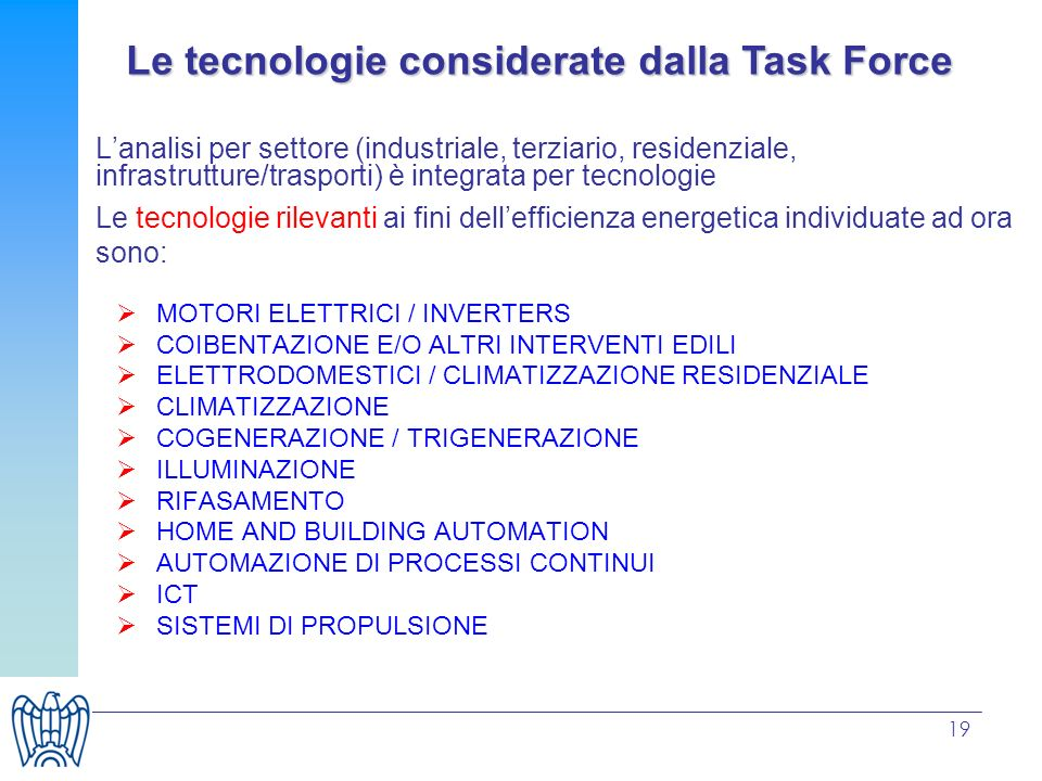 Le tecnologie considerate dalla Task Force
