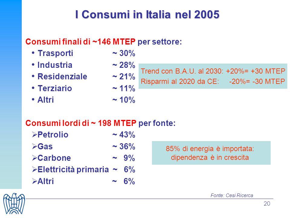 I Consumi in Italia nel 2005 Consumi finali di ~146 MTEP per settore: