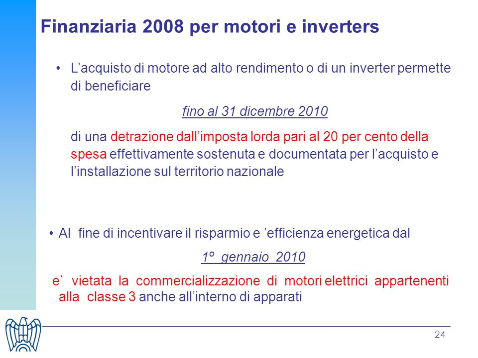 Finanziaria 2008 per motori e inverters