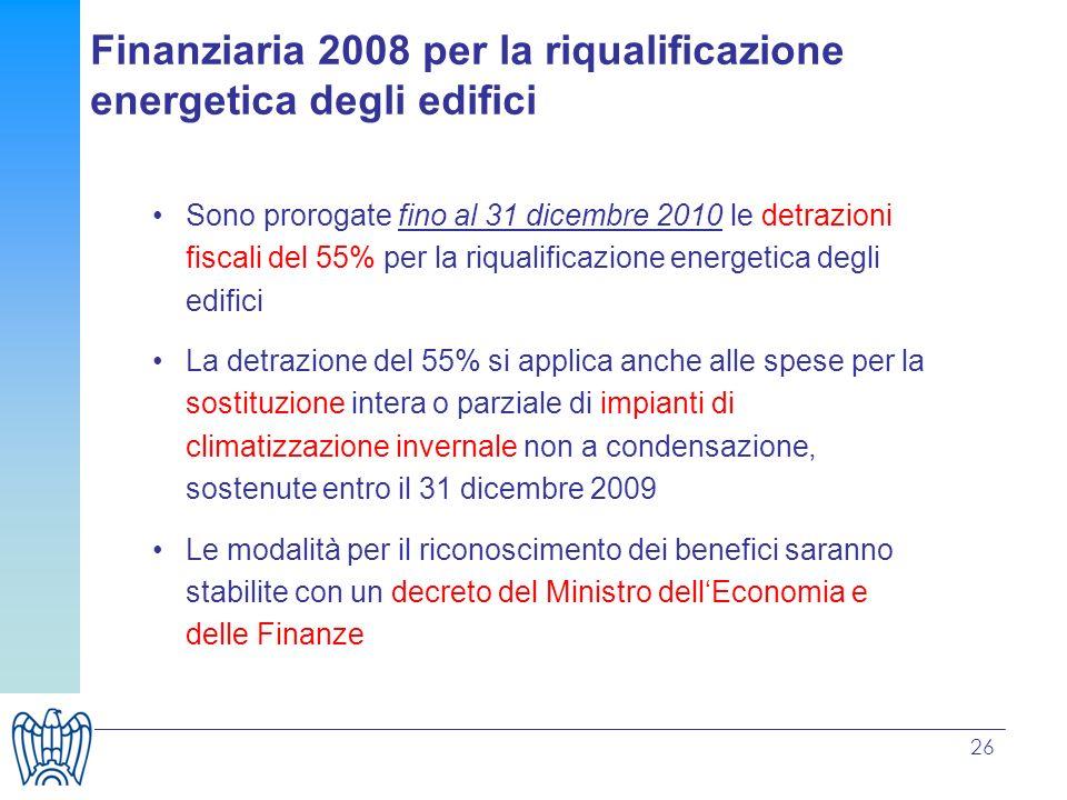 Finanziaria 2008 per la riqualificazione energetica degli edifici