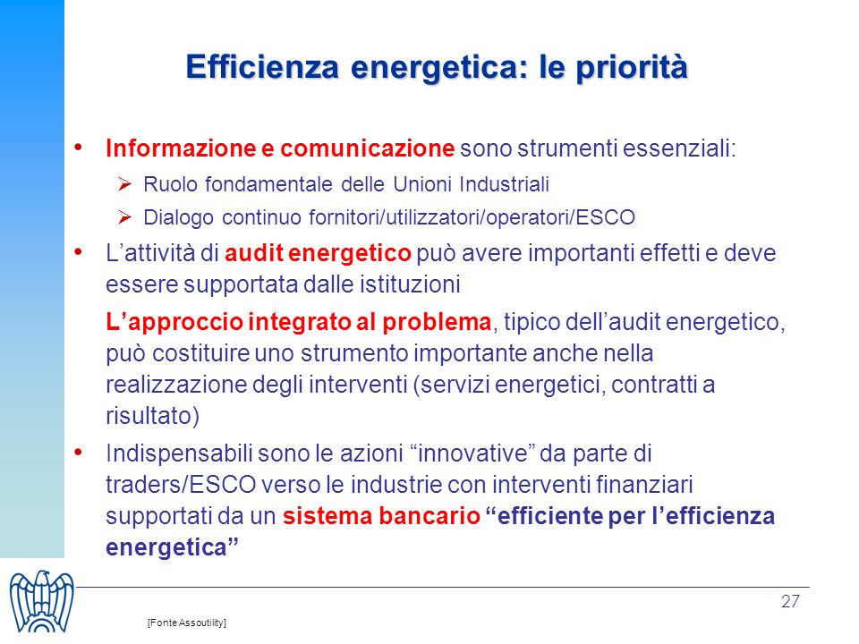 Efficienza energetica: le priorità