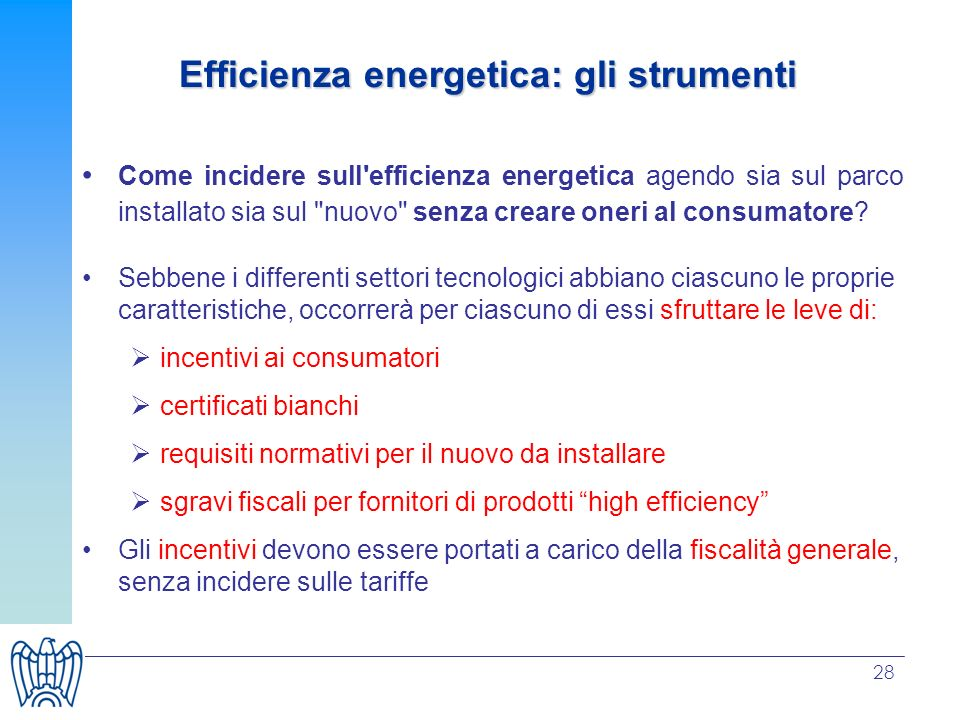 Efficienza energetica: gli strumenti