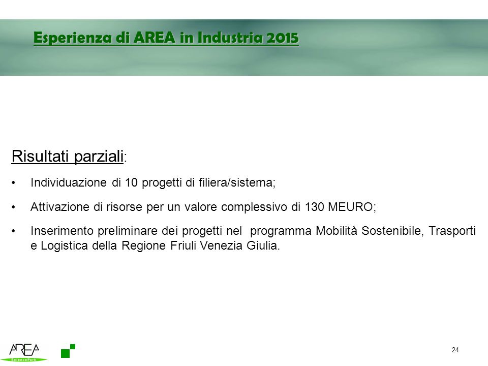 Esperienza di AREA in Industria 2015