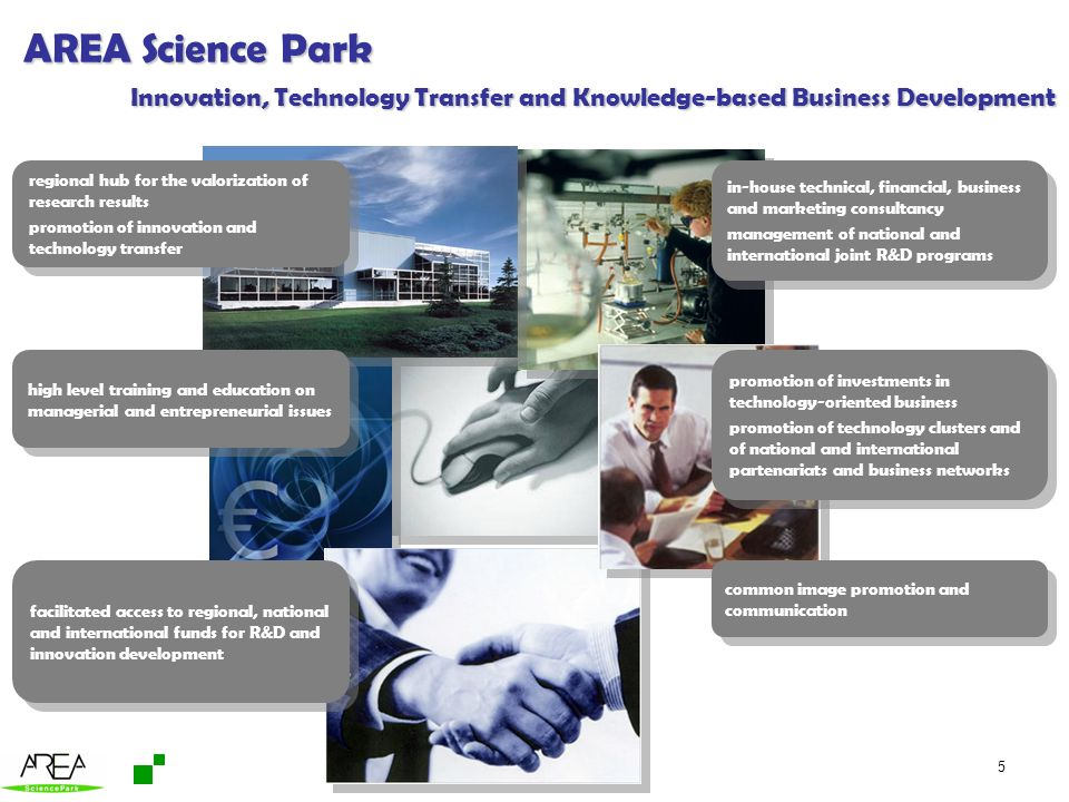 AREA Science Park Innovation, Technology Transfer and Knowledge-based Business Development