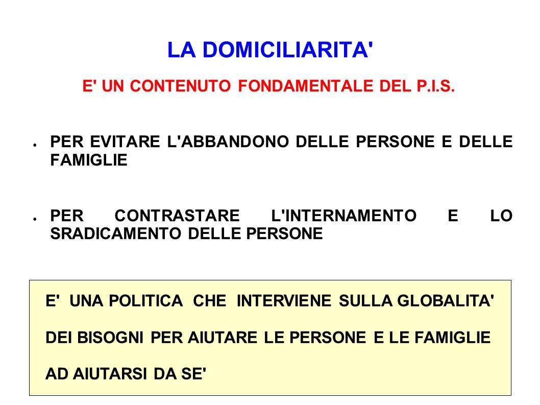 LA DOMICILIARITA E UN CONTENUTO FONDAMENTALE DEL P.I.S.