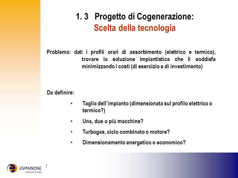 1. 3 Progetto di Cogenerazione: Scelta della tecnologia