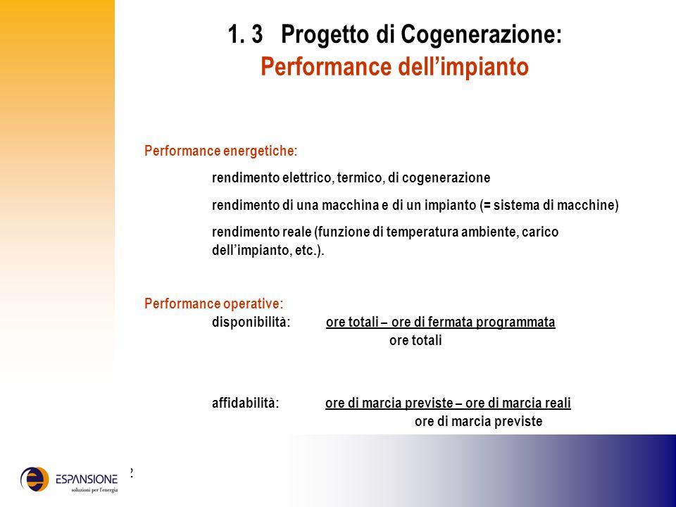 1. 3 Progetto di Cogenerazione: Performance dell'impianto