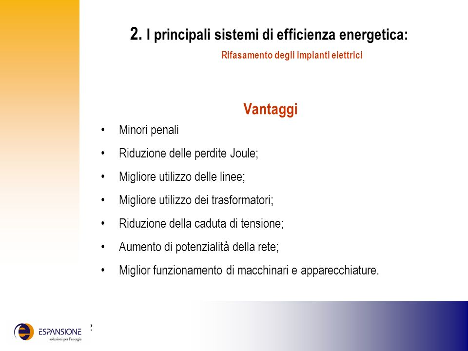 2. I principali sistemi di efficienza energetica: Rifasamento degli impianti elettrici