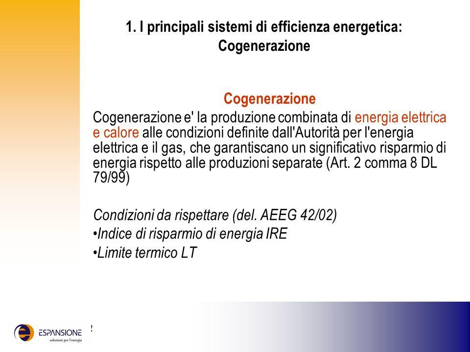 1. I principali sistemi di efficienza energetica: Cogenerazione