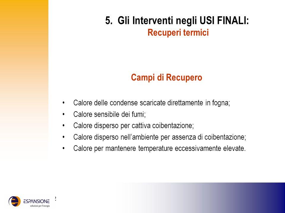5. Gli Interventi negli USI FINALI: Recuperi termici