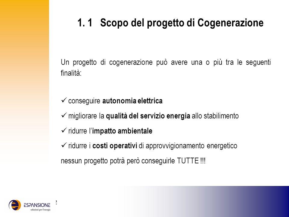 1. 1 Scopo del progetto di Cogenerazione