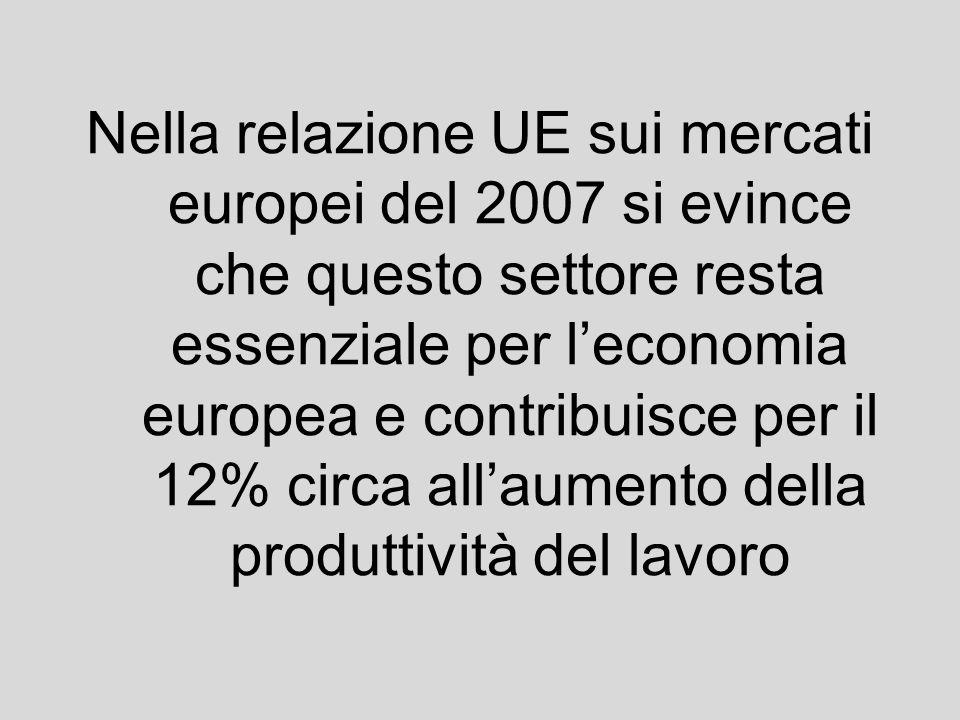 Nella relazione UE sui mercati europei del 2007 si evince che questo settore resta essenziale per l'economia europea e contribuisce per il 12% circa all'aumento della produttività del lavoro
