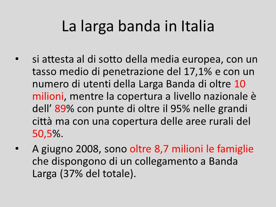 La larga banda in Italia