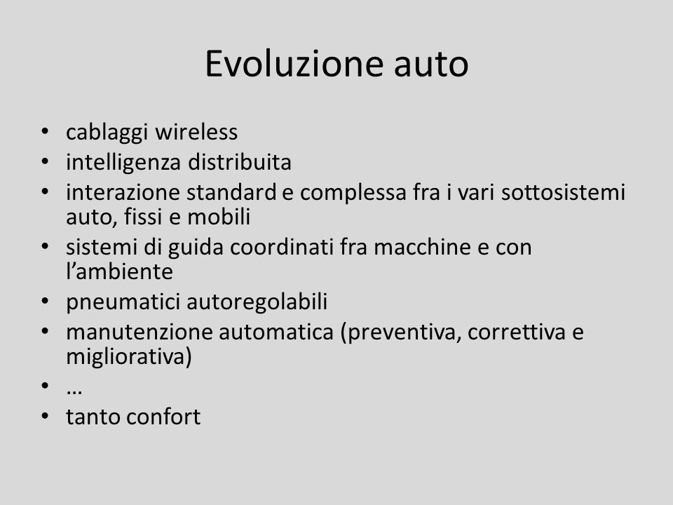 Evoluzione auto cablaggi wireless intelligenza distribuita