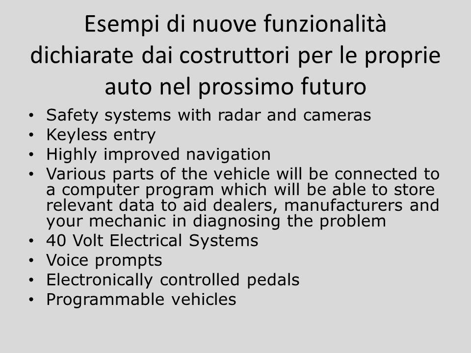 Esempi di nuove funzionalità dichiarate dai costruttori per le proprie auto nel prossimo futuro