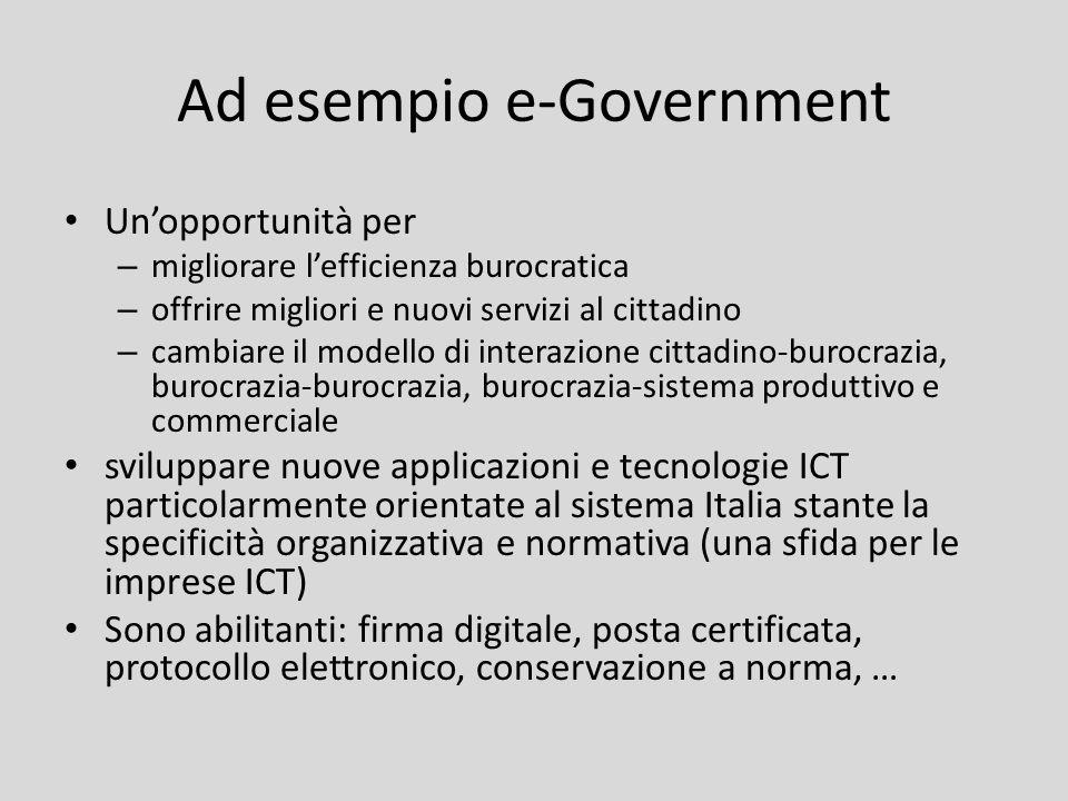 Ad esempio e-Government