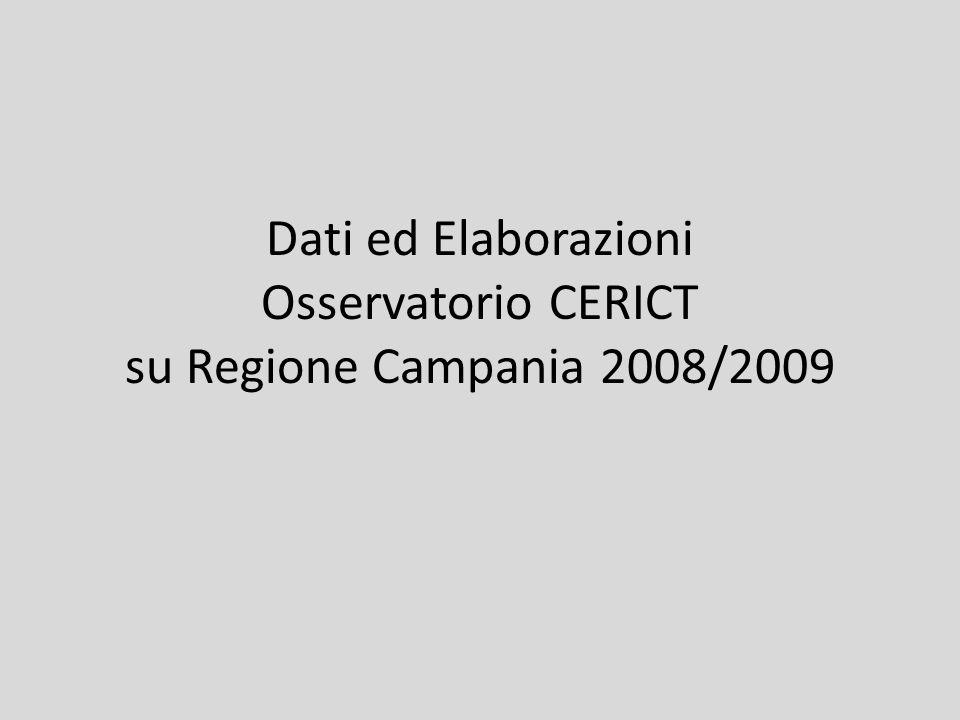 Dati ed Elaborazioni Osservatorio CERICT su Regione Campania 2008/2009