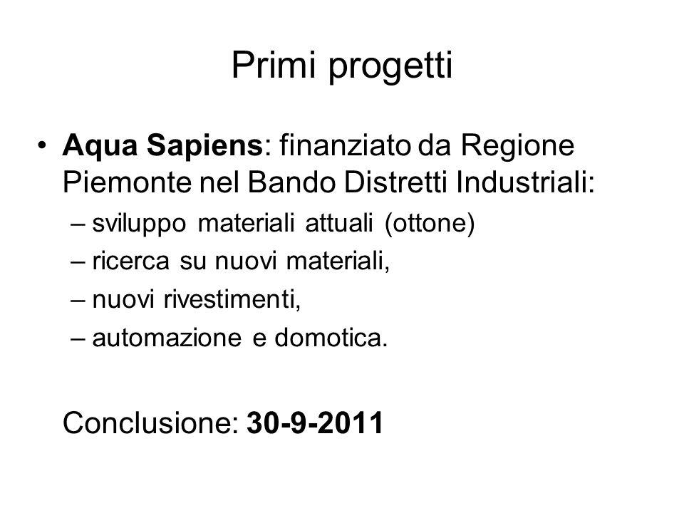 Primi progetti Aqua Sapiens: finanziato da Regione Piemonte nel Bando Distretti Industriali: sviluppo materiali attuali (ottone)