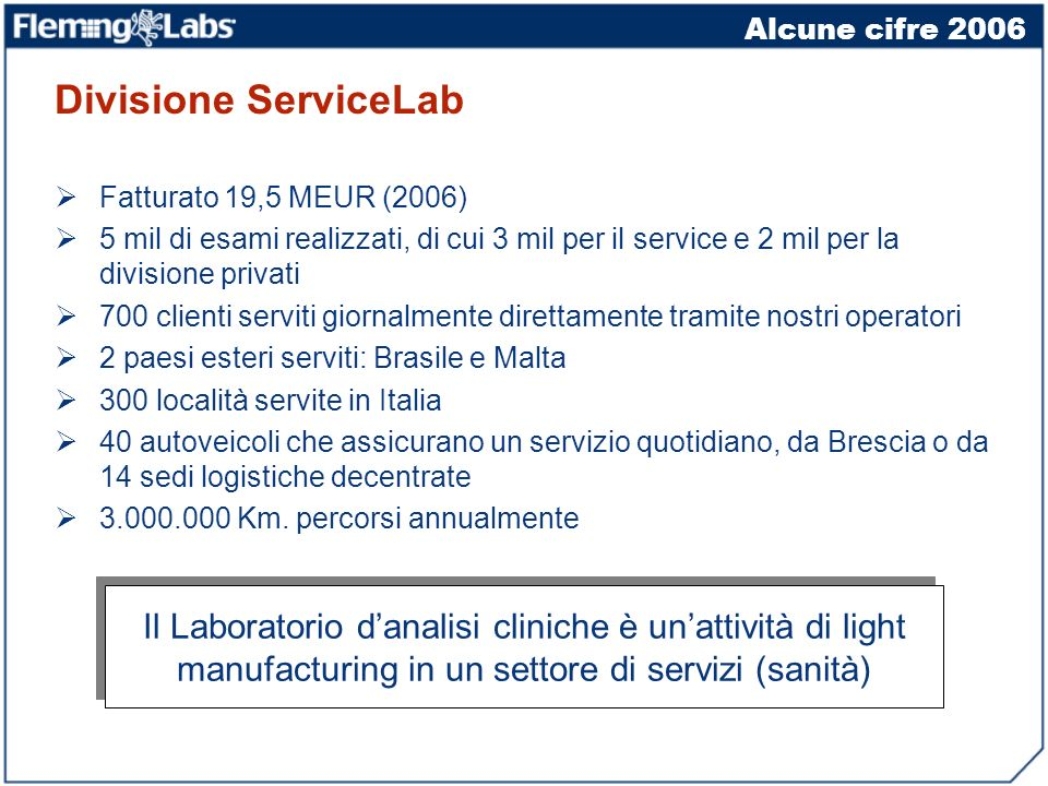 Alcune cifre 2006 Divisione ServiceLab. Fatturato 19,5 MEUR (2006)