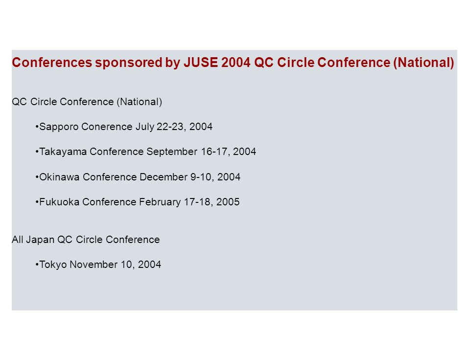 Conferences sponsored by JUSE 2004 QC Circle Conference (National)