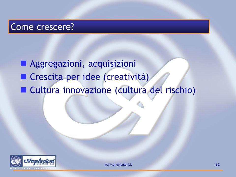 Aggregazioni, acquisizioni Crescita per idee (creatività)