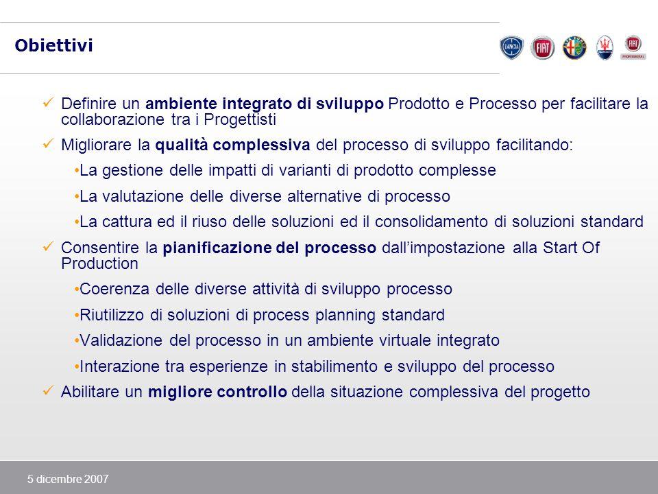 Obiettivi Definire un ambiente integrato di sviluppo Prodotto e Processo per facilitare la collaborazione tra i Progettisti.