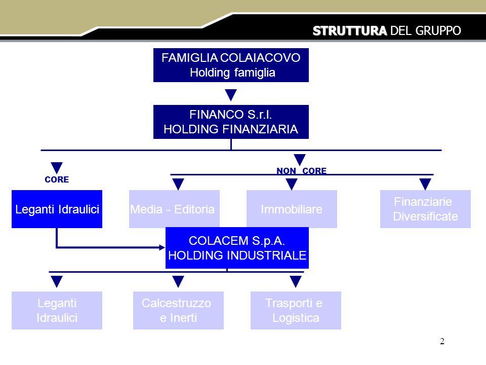 STRUTTURA DEL GRUPPO FAMIGLIA COLAIACOVO Holding famiglia
