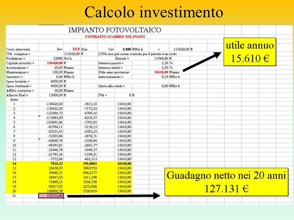 Calcolo investimento Vai al Foglio elettronico
