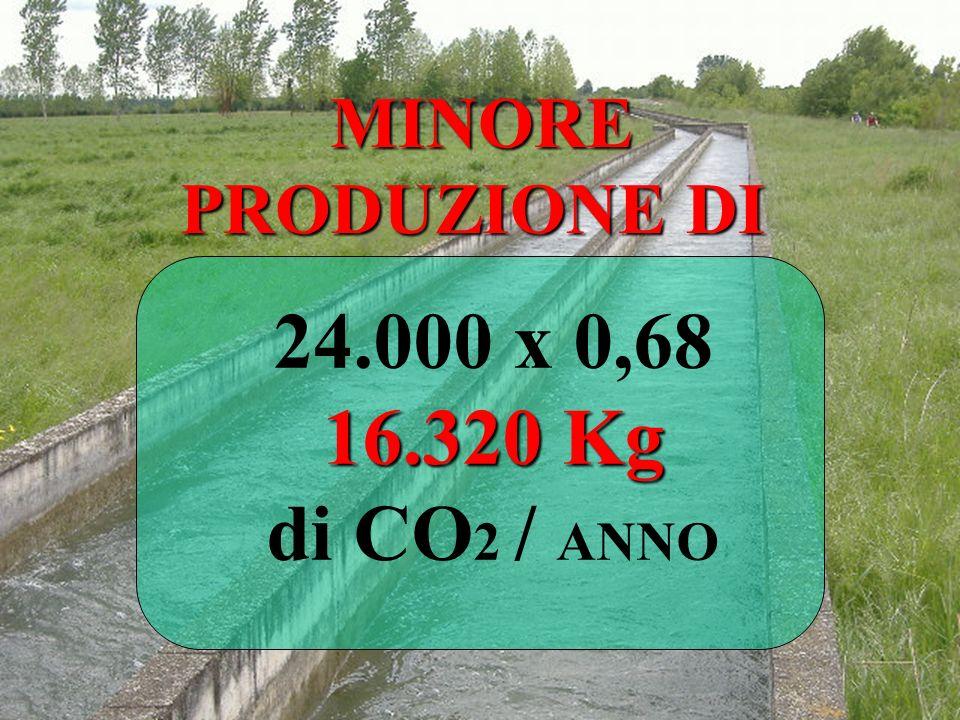 MINORE PRODUZIONE DI 24.000 x 0,68 16.320 Kg di CO2 / ANNO