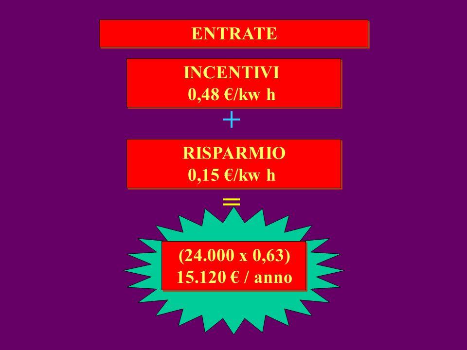 + = ENTRATE INCENTIVI 0,48 €/kw h RISPARMIO 0,15 €/kw h