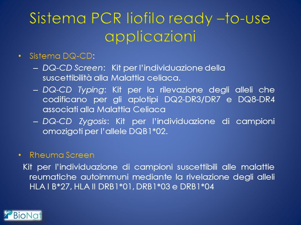 Sistema PCR liofilo ready –to-use