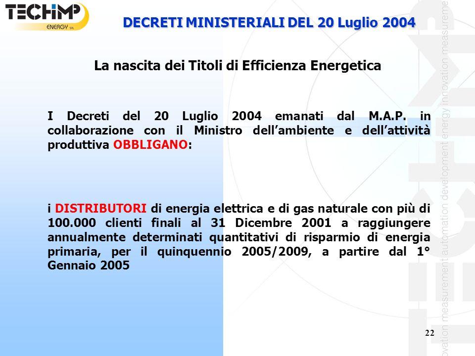 DECRETI MINISTERIALI DEL 20 Luglio 2004