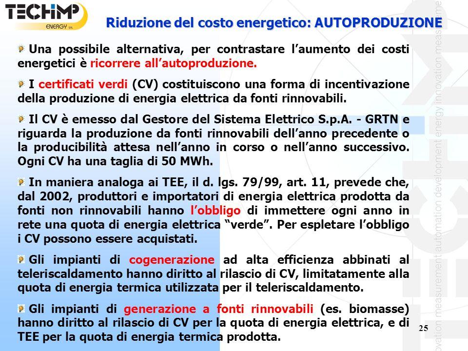 Riduzione del costo energetico: AUTOPRODUZIONE