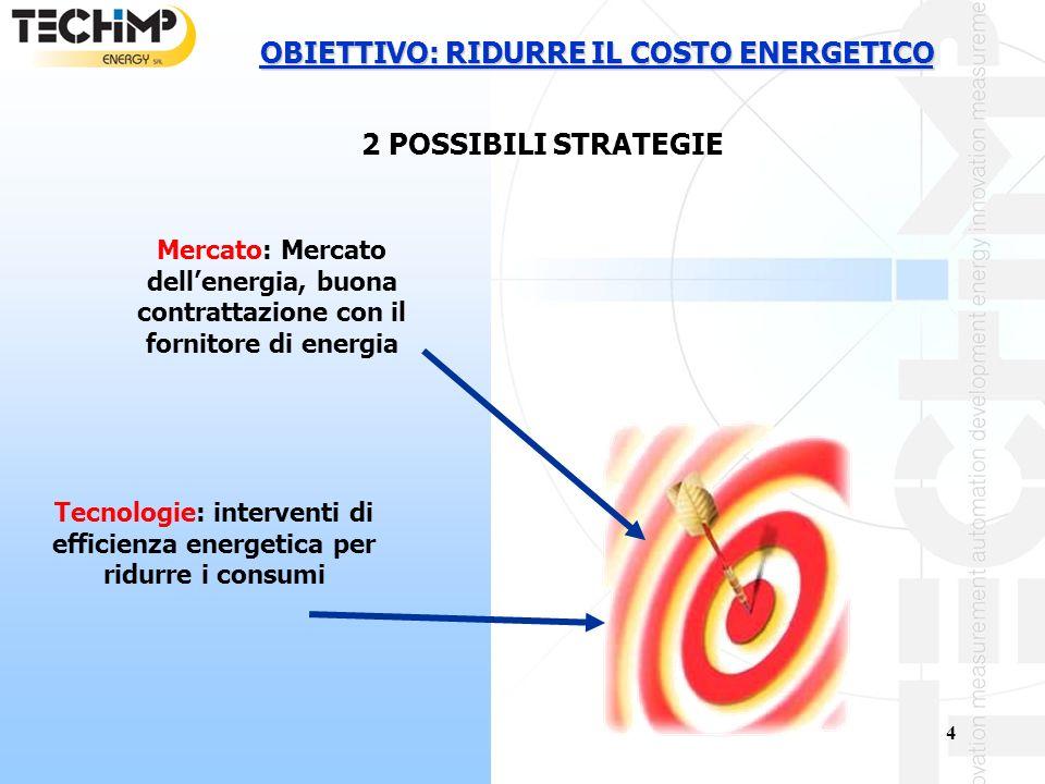 OBIETTIVO: RIDURRE IL COSTO ENERGETICO 2 POSSIBILI STRATEGIE
